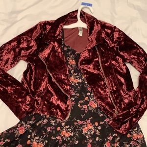Girls floral cami and velour crop Moto jacket